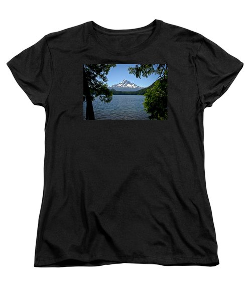 Mt Hood Over Lost Lake Women's T-Shirt (Standard Cut) by Albert Seger
