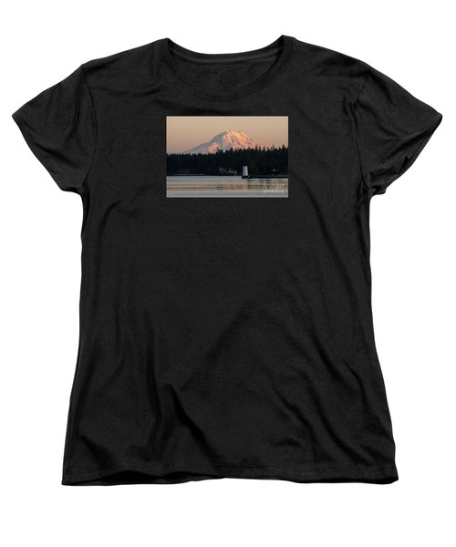 Mt Rainier Alpine Glow I Women's T-Shirt (Standard Cut) by Chuck Flewelling