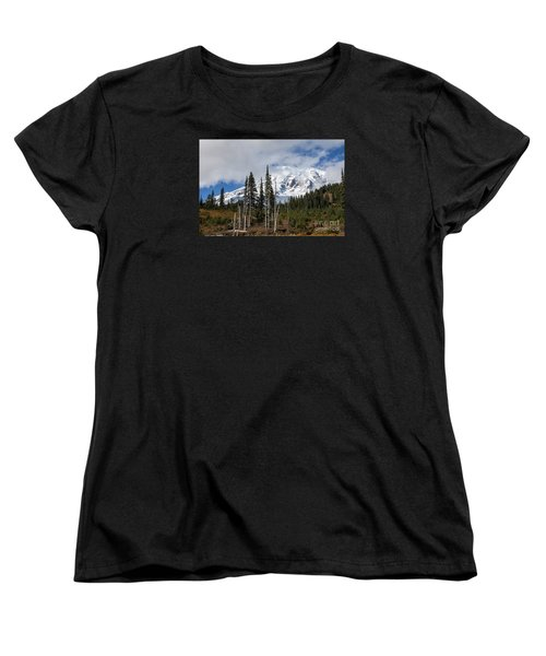 Mt. Rainier High Meadow Women's T-Shirt (Standard Cut) by Chuck Flewelling