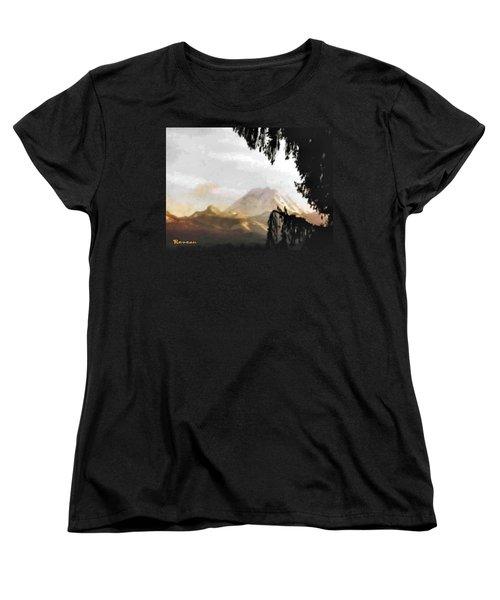 Mt. Rainier In Lace Women's T-Shirt (Standard Cut) by Sadie Reneau