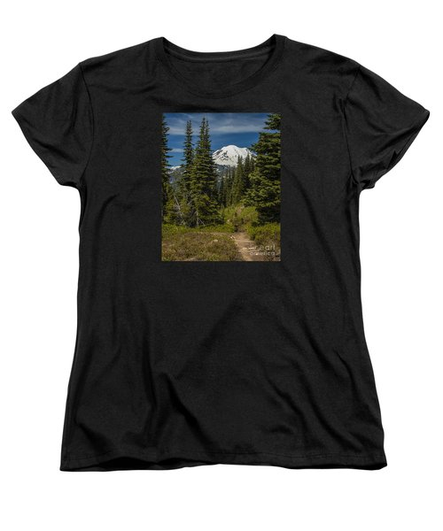 Mt. Rainier Naches Trail Portrait Women's T-Shirt (Standard Cut) by Chuck Flewelling