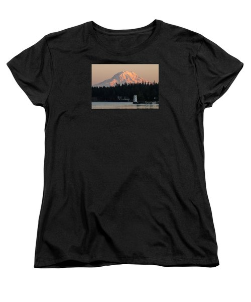 Mt. Rainier Sunset Glow Women's T-Shirt (Standard Cut) by Chuck Flewelling
