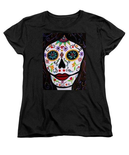 Women's T-Shirt (Standard Cut) featuring the painting Muertos by Pristine Cartera Turkus
