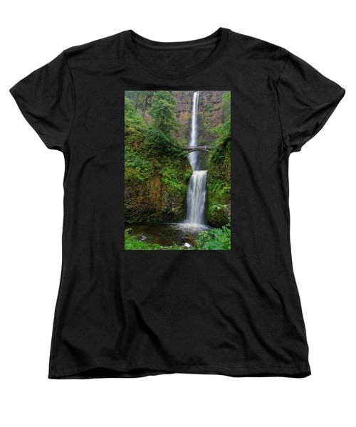 Women's T-Shirt (Standard Cut) featuring the photograph Multnoma Falls by Jonathan Davison