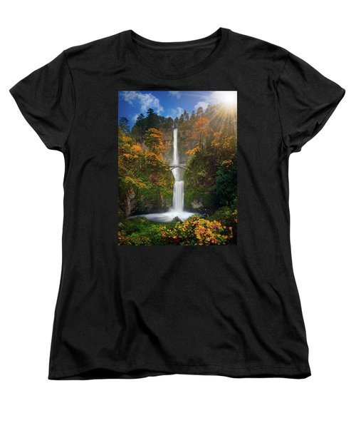 Multnomah Falls In Autumn Colors -panorama Women's T-Shirt (Standard Cut) by William Lee