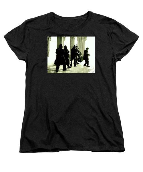 Musicians In The Park Women's T-Shirt (Standard Cut) by Sandy Moulder