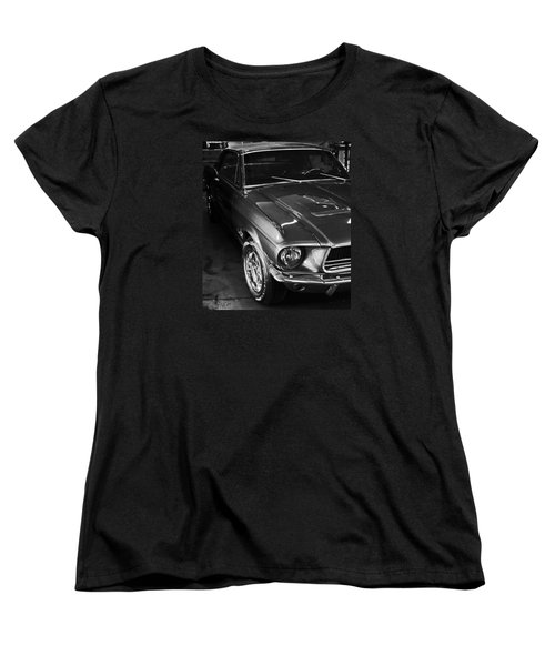 Women's T-Shirt (Standard Cut) featuring the photograph Mustang In Black And White by John Stuart Webbstock