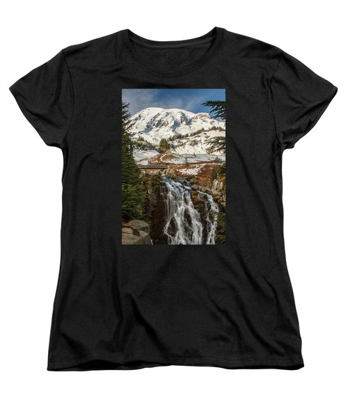 Myrtle Falls, Mt Rainier Women's T-Shirt (Standard Cut) by Tony Locke