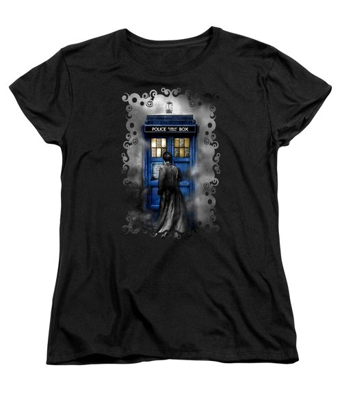 Mysterious Time Traveller With Black Jacket Women's T-Shirt (Standard Cut) by Three Second