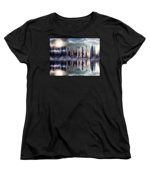 Women's T-Shirt (Standard Cut) featuring the mixed media Mystic Lake by Gabriella Weninger - David