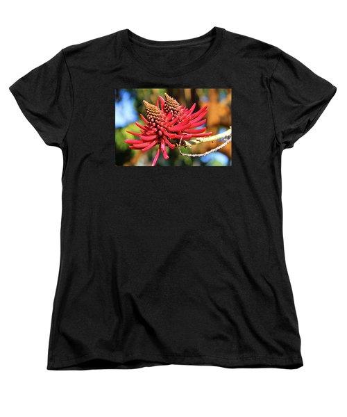 Naked Coral Tree Flower Women's T-Shirt (Standard Cut) by Mariola Bitner