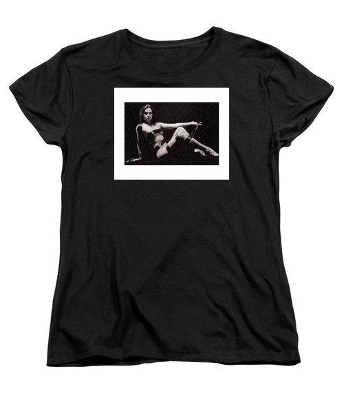 Women's T-Shirt (Standard Cut) featuring the photograph Naked Girl With Tape Around Her by Michael Edwards