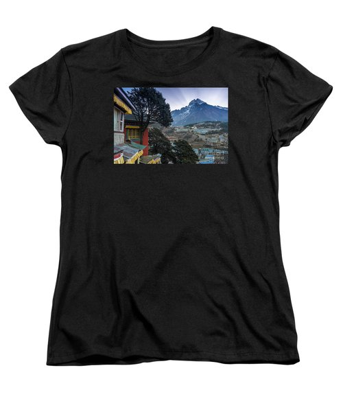 Women's T-Shirt (Standard Cut) featuring the photograph Namche Monastery Morning Sunrays by Mike Reid