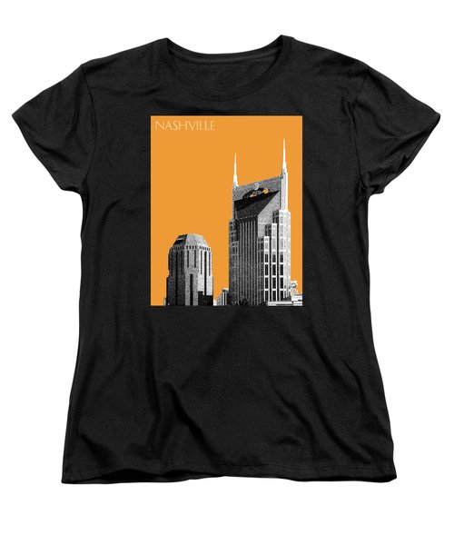 Nashville Skyline At And T Batman Building - Orange Women's T-Shirt (Standard Cut) by DB Artist