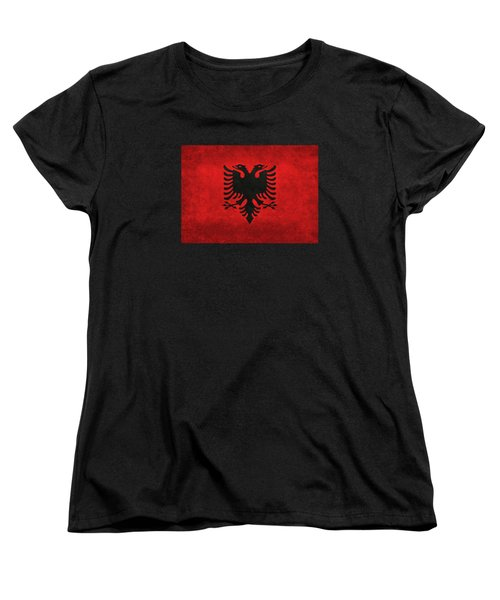 National Flag Of Albania With Distressed Vintage Treatment  Women's T-Shirt (Standard Cut) by Bruce Stanfield