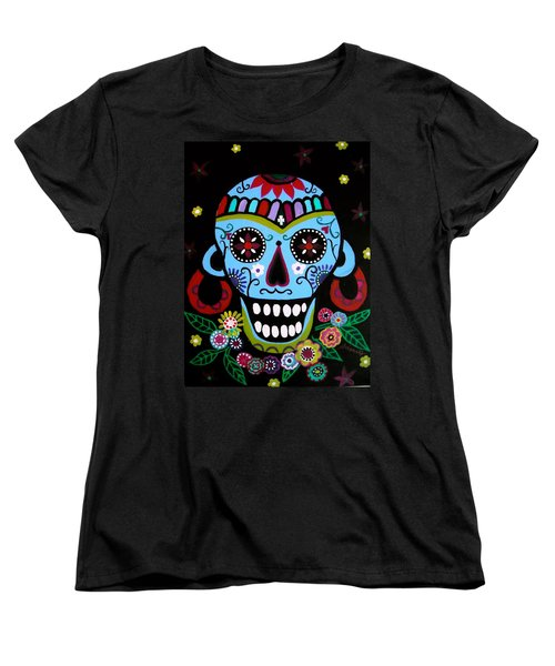 Native Dia De Los Muertos Skull Women's T-Shirt (Standard Cut) by Pristine Cartera Turkus