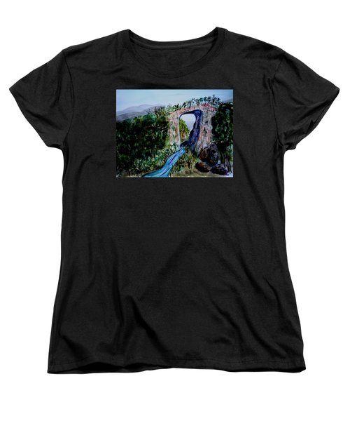 Natural Bridge In Virginia Women's T-Shirt (Standard Cut) by Donna Walsh