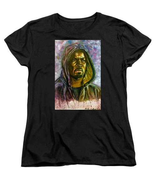 Women's T-Shirt (Standard Cut) featuring the painting  Netflix Luke Cage by Darryl Matthews