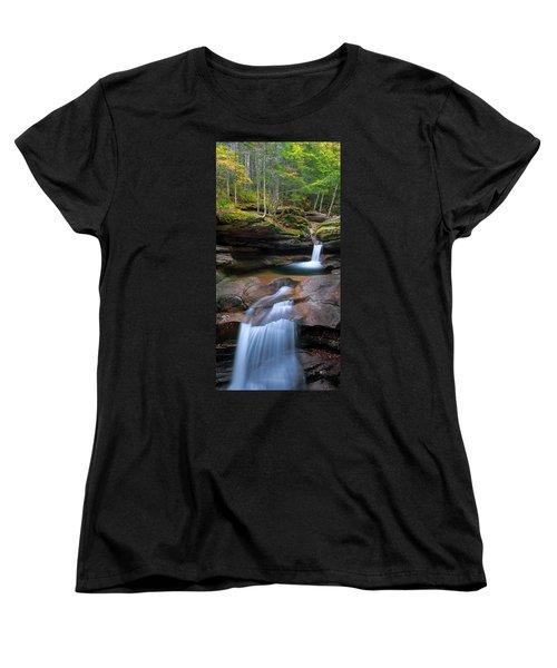 New Hampshire Sabbaday Falls Panorama Women's T-Shirt (Standard Cut) by Ranjay Mitra