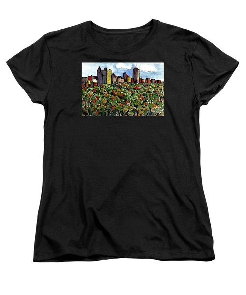 Women's T-Shirt (Standard Cut) featuring the painting New York Central Park by Terry Banderas