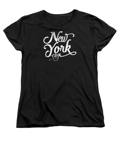 New York City Vintage Typography - White Women's T-Shirt (Standard Cut) by Wam
