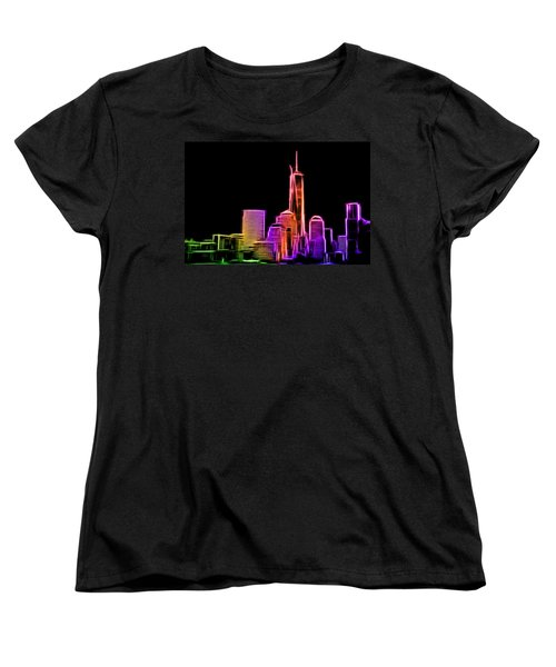 Women's T-Shirt (Standard Cut) featuring the photograph New York Skyline by Aaron Berg