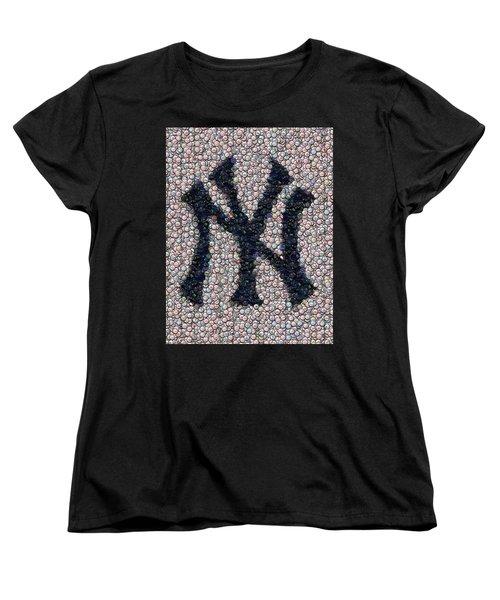 New York Yankees Bottle Cap Mosaic Women's T-Shirt (Standard Cut) by Paul Van Scott