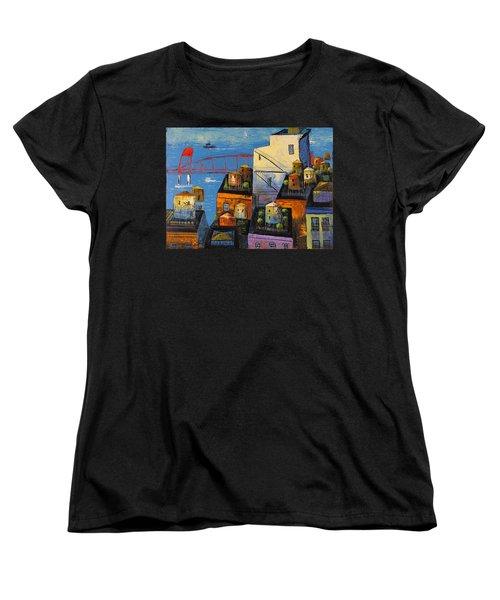 New York,red Bridge Women's T-Shirt (Standard Cut) by Mikhail Zarovny