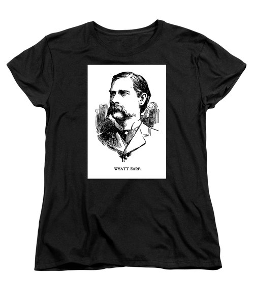 Women's T-Shirt (Standard Cut) featuring the mixed media Newspaper Image Of Wyatt Earp 1896 by Daniel Hagerman