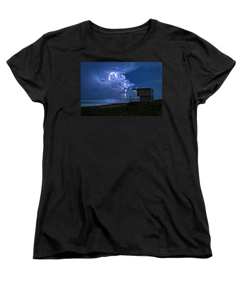 Night Lightning Under Full Moon Over Hobe Sound Beach, Florida Women's T-Shirt (Standard Cut) by Justin Kelefas