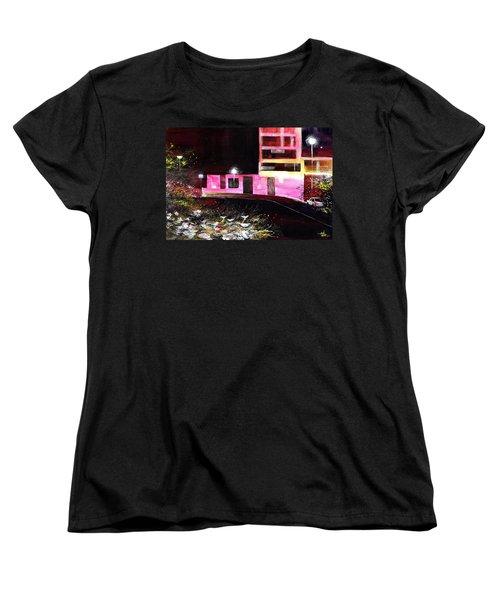 Women's T-Shirt (Standard Cut) featuring the painting Night Walk by Anil Nene