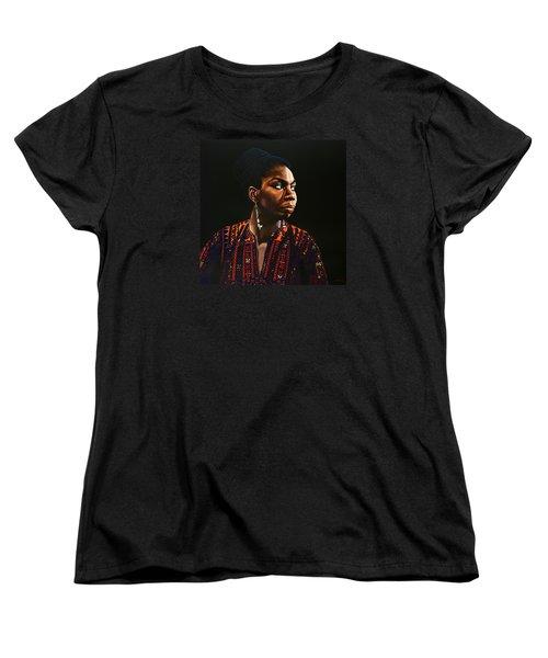Nina Simone Painting Women's T-Shirt (Standard Cut) by Paul Meijering