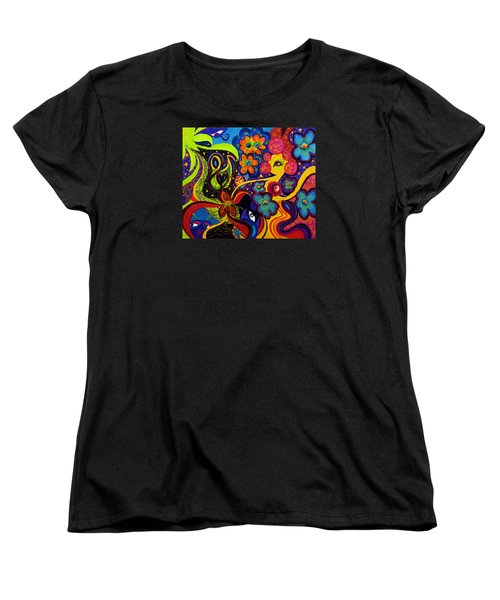 Women's T-Shirt (Standard Cut) featuring the painting Joyful by Marina Petro