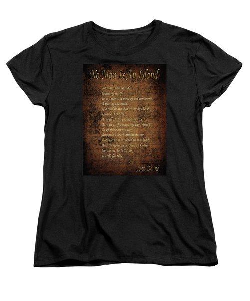No Man Is An Island Women's T-Shirt (Standard Cut) by Andrew Fare