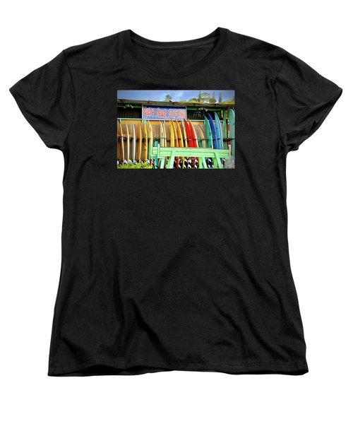 Women's T-Shirt (Standard Cut) featuring the photograph North Shore Surf Shop 1 by Jim Albritton
