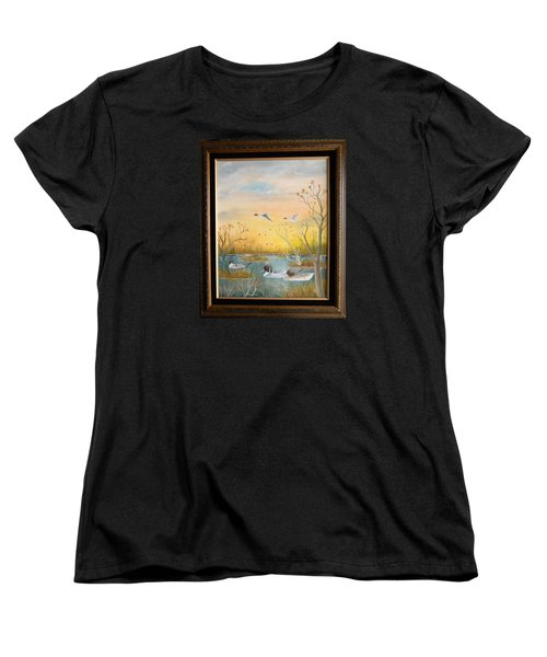 Women's T-Shirt (Standard Cut) featuring the painting Northen Pintails by Al  Johannessen
