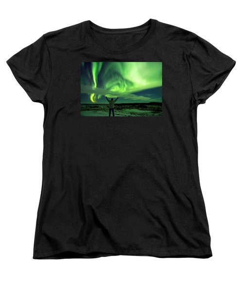 Northern Light In Western Iceland Women's T-Shirt (Standard Cut) by Dubi Roman