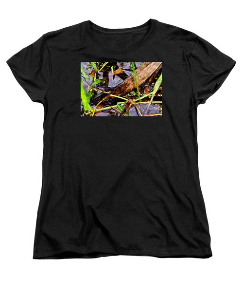 Women's T-Shirt (Standard Cut) featuring the mixed media Northern Water Snake by Olga Hamilton