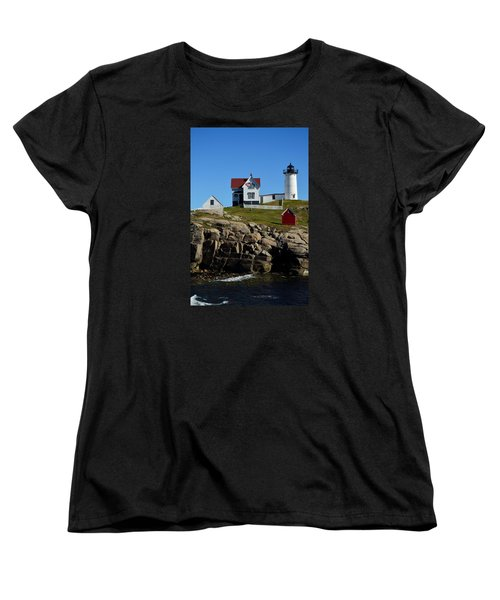 Women's T-Shirt (Standard Cut) featuring the photograph Nubble Lighthouse 2 by Richard Ortolano