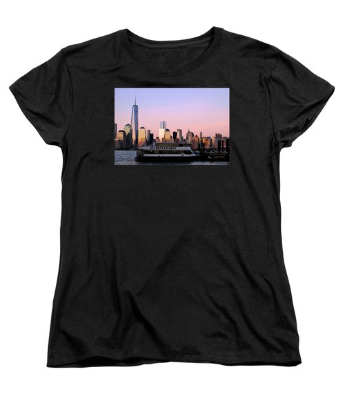 Nyc Skyline With Boat At Pier Women's T-Shirt (Standard Cut)