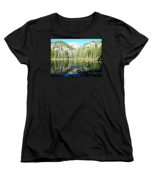 Women's T-Shirt (Standard Cut) featuring the photograph Nymph Lake And Flattop Mountain by Joseph Hendrix