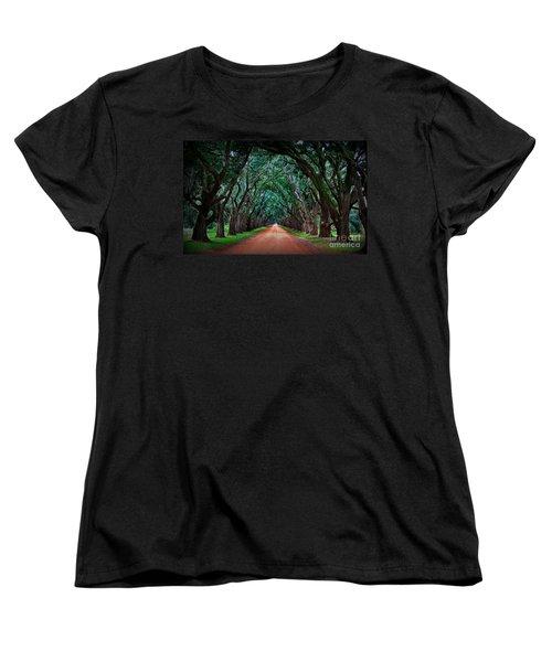 Oak Alley Road Women's T-Shirt (Standard Cut) by Perry Webster