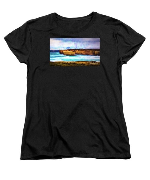 Women's T-Shirt (Standard Cut) featuring the photograph Ocean Cliffs by Perry Webster