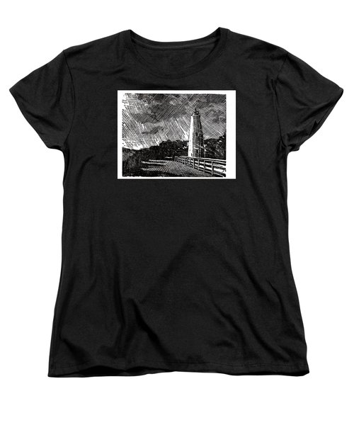 Women's T-Shirt (Standard Cut) featuring the painting Ocracoke Island Lighthouse II by Ryan Fox