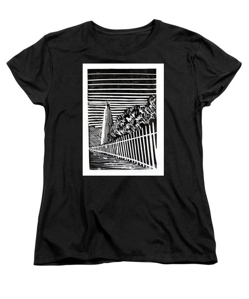 Women's T-Shirt (Standard Cut) featuring the painting Ocracoke Island Lighthouse by Ryan Fox