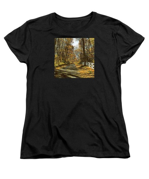 Women's T-Shirt (Standard Cut) featuring the painting October Backroad by Doug Kreuger
