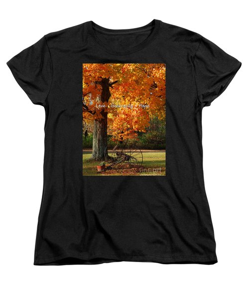 Women's T-Shirt (Standard Cut) featuring the photograph October Day Love Generosity Hope by Diane E Berry