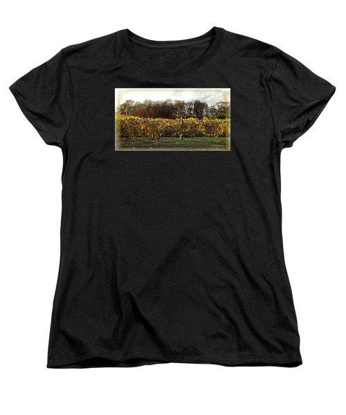 Women's T-Shirt (Standard Cut) featuring the photograph Ohio Winery In Autumn by Joan  Minchak