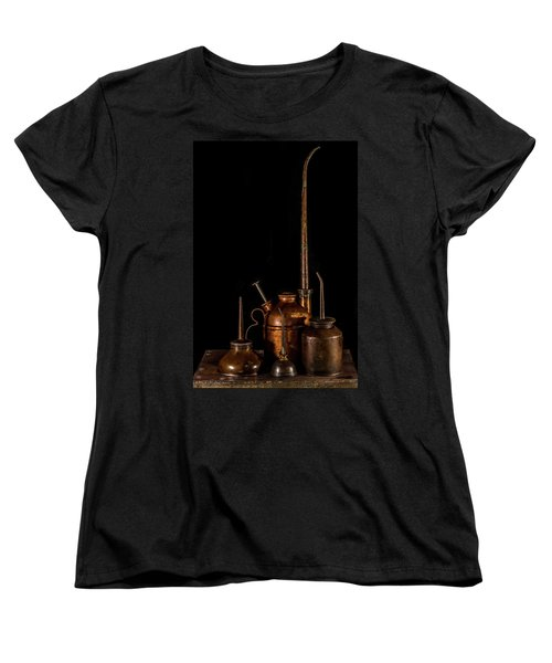 Women's T-Shirt (Standard Cut) featuring the photograph Oil Cans by Paul Freidlund