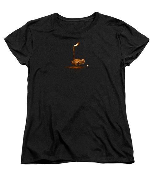 Oil Rig At Night Women's T-Shirt (Standard Cut) by Bradford Martin